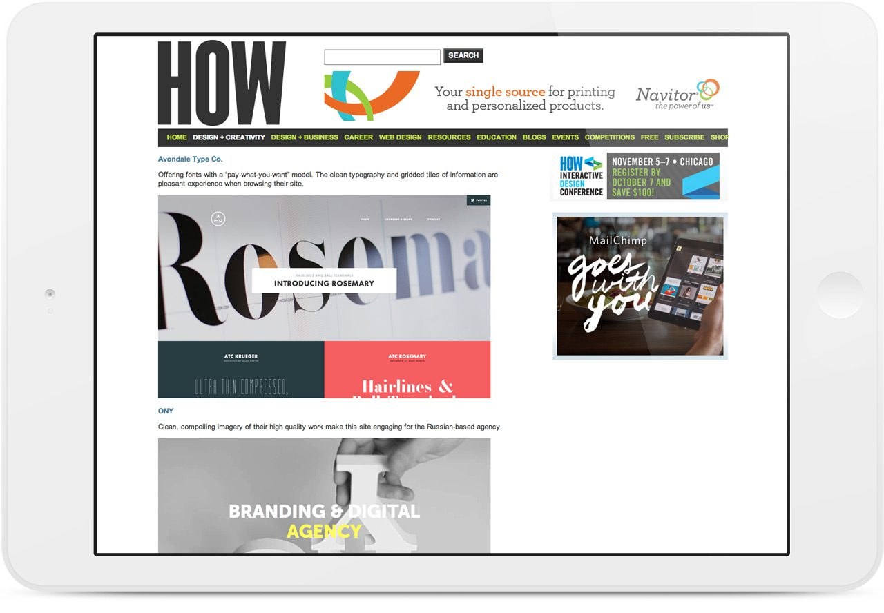 Avondale Type Co Featured in How Design's 10 Sites For Designers Oct 2013