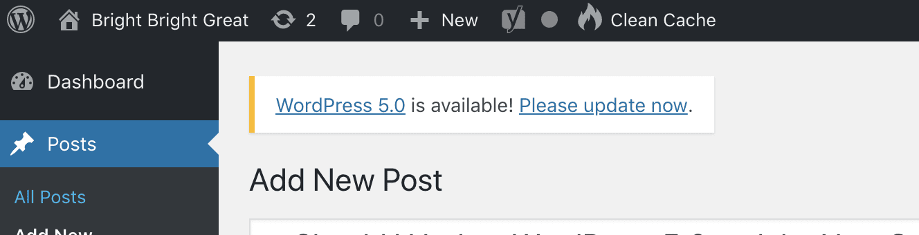 WordPress 5.0 Call To Action