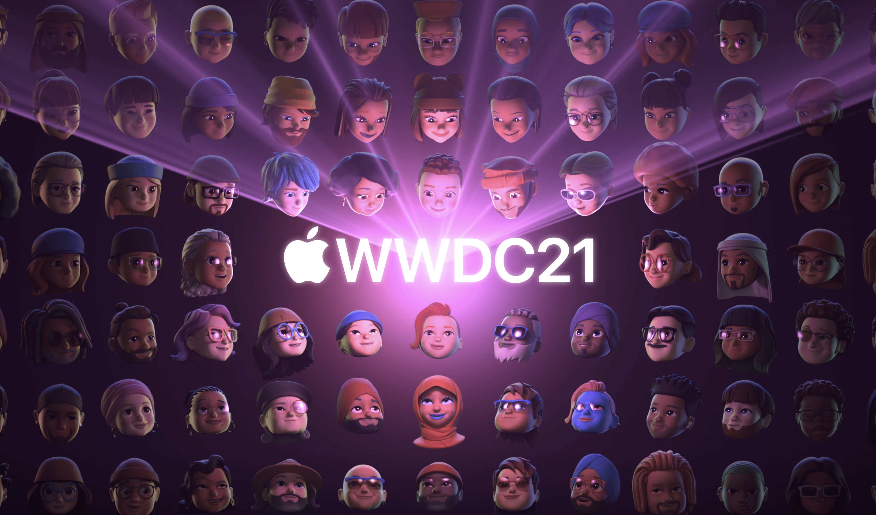 WWDC21 conference event image witth many different people and logo in center