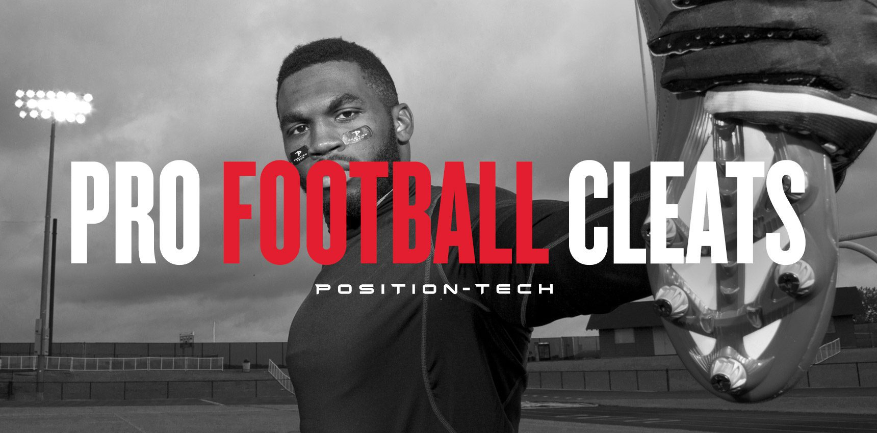 Position-Tech promotional banner of professional athlete displaying football cleat