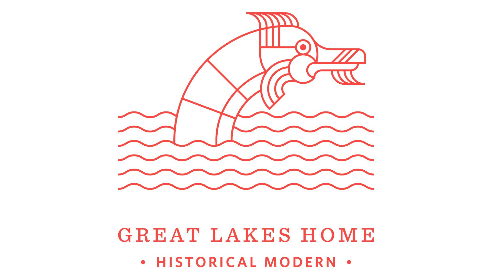 A red logomark for Great Lakes Home depicting a sea monster and the sea