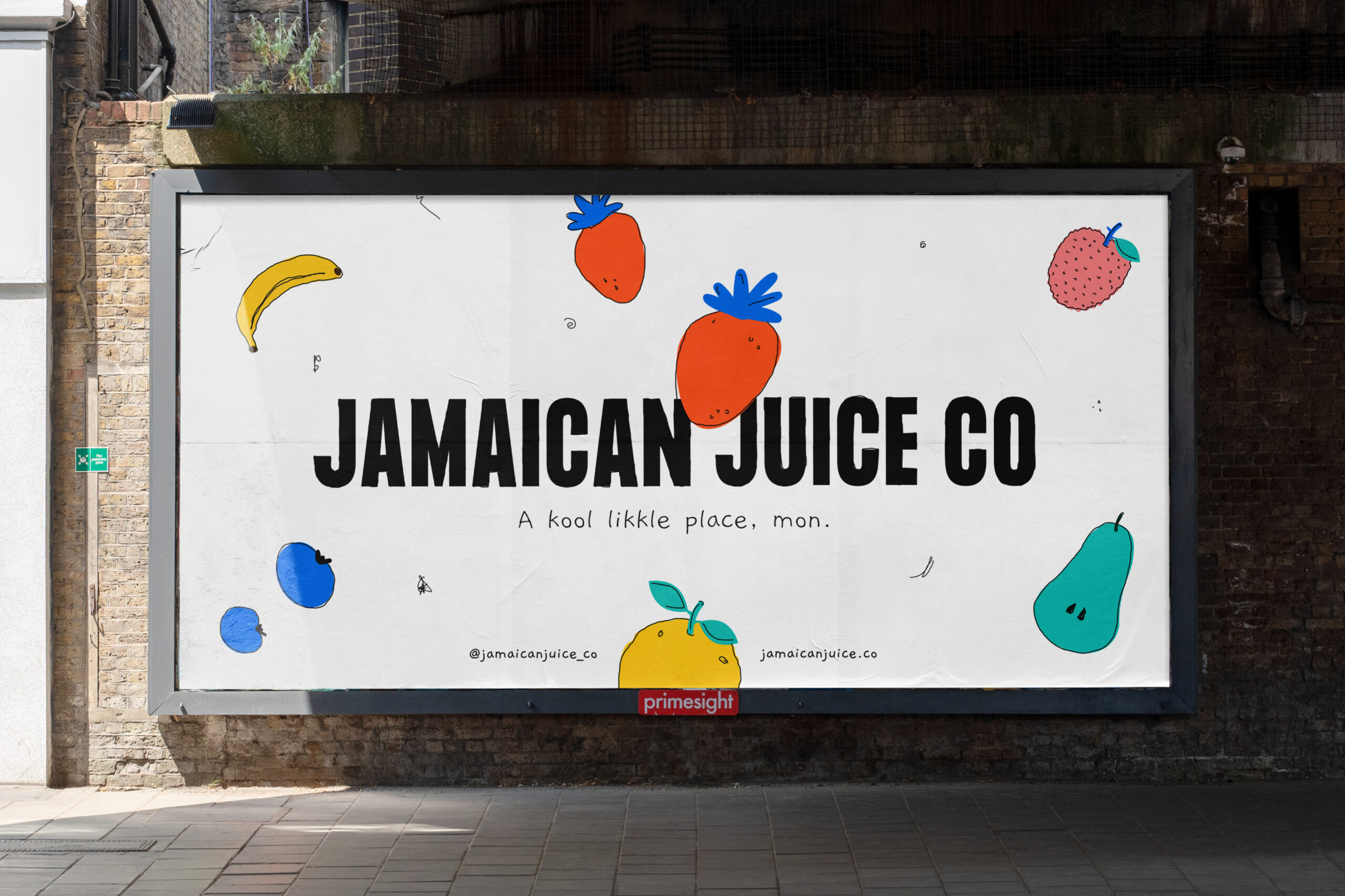 Photograph of promotional Jamaican Juice Co. OOH showing sketched fruits